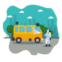 van car disinfection service, prevention coronavirus covid 19, clean surfaces in car with a disinfectant spray, person with biohazard suit vector