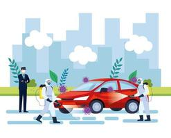 car disinfection service, prevention coronavirus covid 19, clean surfaces in car with a disinfectant spray, persons with biohazard suit vector