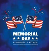memorial day, honoring all who served, with flags usa decoration vector