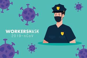 policeman wearing medical mask against covid 19 vector