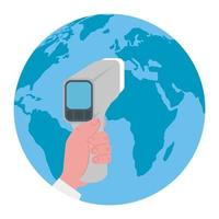 hand with digital non contact infrared thermometer, with world planet earth, prevention of coronavirus disease 2019 ncov vector