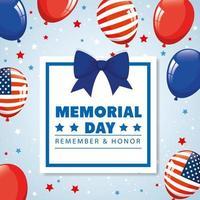 día conmemorativo, en honor a todos los que sirvieron, recordar y honrar, con globos de helio decoración vector