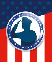 memorial day, honoring all who served, with saluting army soldier silhouette vector