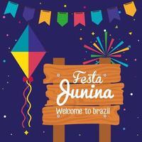 festa junina with wooden sign and decoration, brazil june festival vector