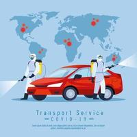 car disinfection service, prevention coronavirus covid 19, clean surfaces in car with a disinfectant spray, person with biohazard suit vector
