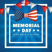 memorial day, honoring all who served, with bow and garlands hanging decoration vector