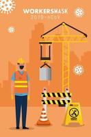 trabajador de la construcción con máscara médica contra el covid 19 vector