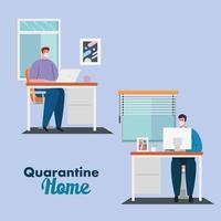 stay home work home, men protect yourself working at home, stay home on quarantine during the coronavirus vector