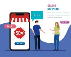 man and woman with smartphone and fifty discount vector design