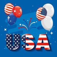 memorial day, honoring all who served, american flag in letters with balloons helium vector