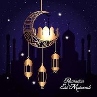 ramadan eid mubarak, moon hanging with mosque and lanterns hanging vector
