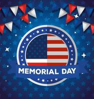 memorial day, honoring all who served, with american label and garlands hanging vector