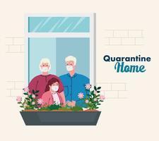 quedarse en casa, fachada de la casa con ventana, abuelos con nieta mirar fuera de casa, autoaislamiento, cuarentena por coronavirus, covid 19