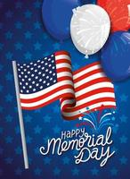 memorial day, honoring all who served, with flag and balloons helium decoration vector