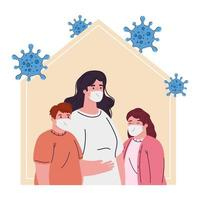 stay home, mother with children wearing medical mask, quarantine or self isolation vector