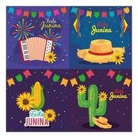 festa junina set cards, brasil festival de junio con decoración