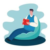 stay home, man sitting in pouf reading book, quarantine or self isolation