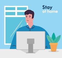 Quédate en casa, trabaja en casa, hombre, protégete trabajando en casa, quédate en casa en cuarentena durante el coronavirus vector