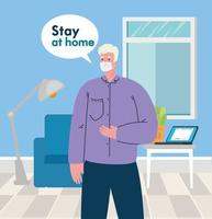 stay home, man wearing medical mask in living room, quarantine or self isolation