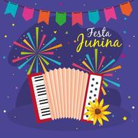 festa junina with accordion and decoration, brazil june festival, celebration decoration vector