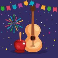 festa junina with guitar and decoration, brazil june festival, celebration decoration vector
