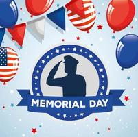 memorial day, honoring all who served, saluting army soldier silhouette with balloons helium decoration vector