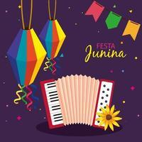 festa junina con acordeón y decoración, festival de junio de brasil, decoración de celebración vector
