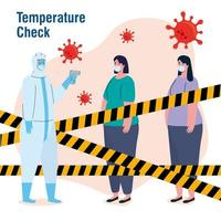 disinfection, person in viral protective suit, with digital non contact infrared thermometer, women in check temperature vector