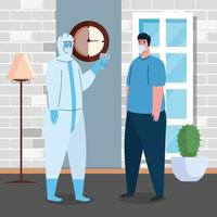 disinfection, person in viral protective suit, with digital non contact infrared thermometer, man check temperature in the house vector