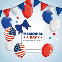 memorial day, honoring all who served, remember and honor , with balloons helium decoration vector