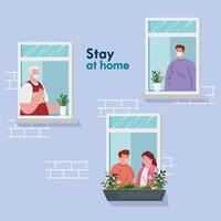 quedarse en casa, fachada de la casa con ventana, la gente mira fuera de casa, autoaislamiento, cuarentena por coronavirus, covid 19