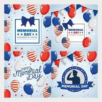 cards memorial day, honoring all who served, with decoration vector