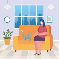 stay home, woman wearing medical mask in living room, quarantine or self isolation vector