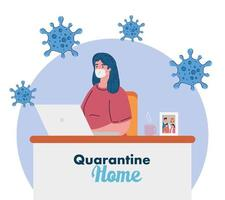 quédate en casa, trabaja en casa, mujer, protégete trabajando en casa, quédate en casa en cuarentena durante el coronavirus vector