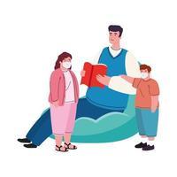 padre con hijos con máscara médica para la prevención covid 19