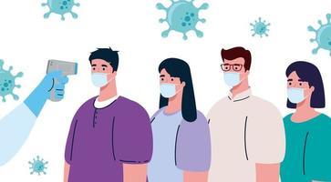 Covid 19 coronavirus, termómetro infrarrojo de mano para medir la temperatura corporal, la gente verifica la temperatura vector