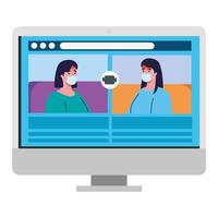woman talk to each other on the computer screen, conference video call, prevention coronavirus covid 19 vector