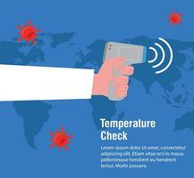 hand with digital non contact infrared thermometer,world map international, prevention of coronavirus disease 2019 ncov vector