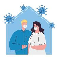 stay home, couple wearing medical mask, quarantine or self isolation