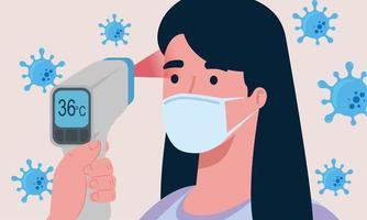 Covid 19 coronavirus, termómetro infrarrojo para medir la temperatura corporal, mujer comprobar la temperatura vector