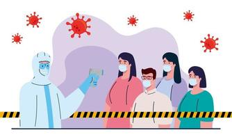 disinfection, person in viral protective suit, with digital non contact infrared thermometer, people in check temperature vector
