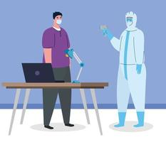 disinfection, person in viral protective suit, with digital non contact infrared thermometer and man in temperature check in office vector