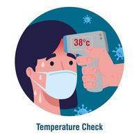Covid 19 coronavirus, termómetro infrarrojo de mano para medir la temperatura corporal, control de la mujer con temperatura alta vector