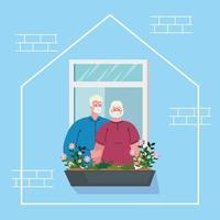 quedarse en casa, fachada de la casa con ventana, pareja de ancianos mirar fuera de casa, autoaislamiento, cuarentena por coronavirus, covid 19