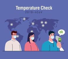 covid 19 coronavirus, hand holding infrared thermometer to measure body temperature, people in check temperature