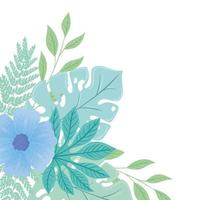 flowers blue color pastel with branches and leaves, nature concept vector