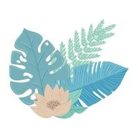 flowers color pastel with branch and leaves, nature concept vector