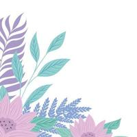 flowers lilac color pastel with branches and leaves, nature concept vector