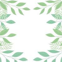 Bastidor de ramas tropicales y hojas de color pastel sobre fondo blanco.