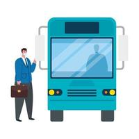 social distancing with man wearing medical mask in bus station, city community transport with diverse commuters together, prevention coronavirus covid 19